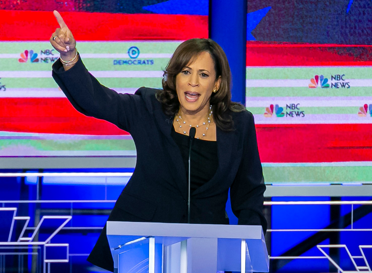 Democratic presidential candidate Sen. Kamala Harris, D-Calif., speaks during the second night of the first Democratic presidential debate on Thursday, June 27, at the Arsht Center for the Performing Arts in Miami.