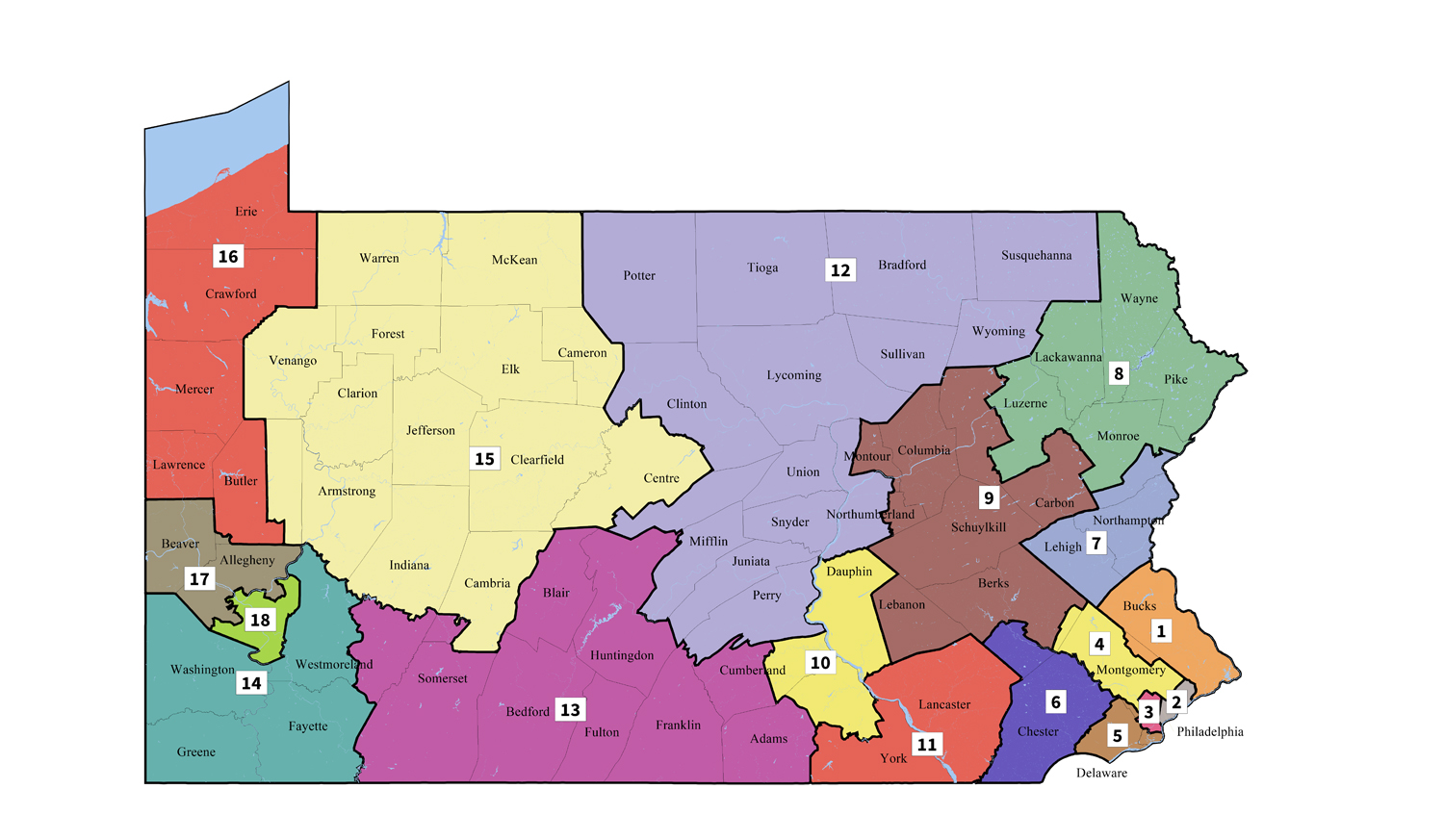 Map of Pennsylvania's congressional districts.
