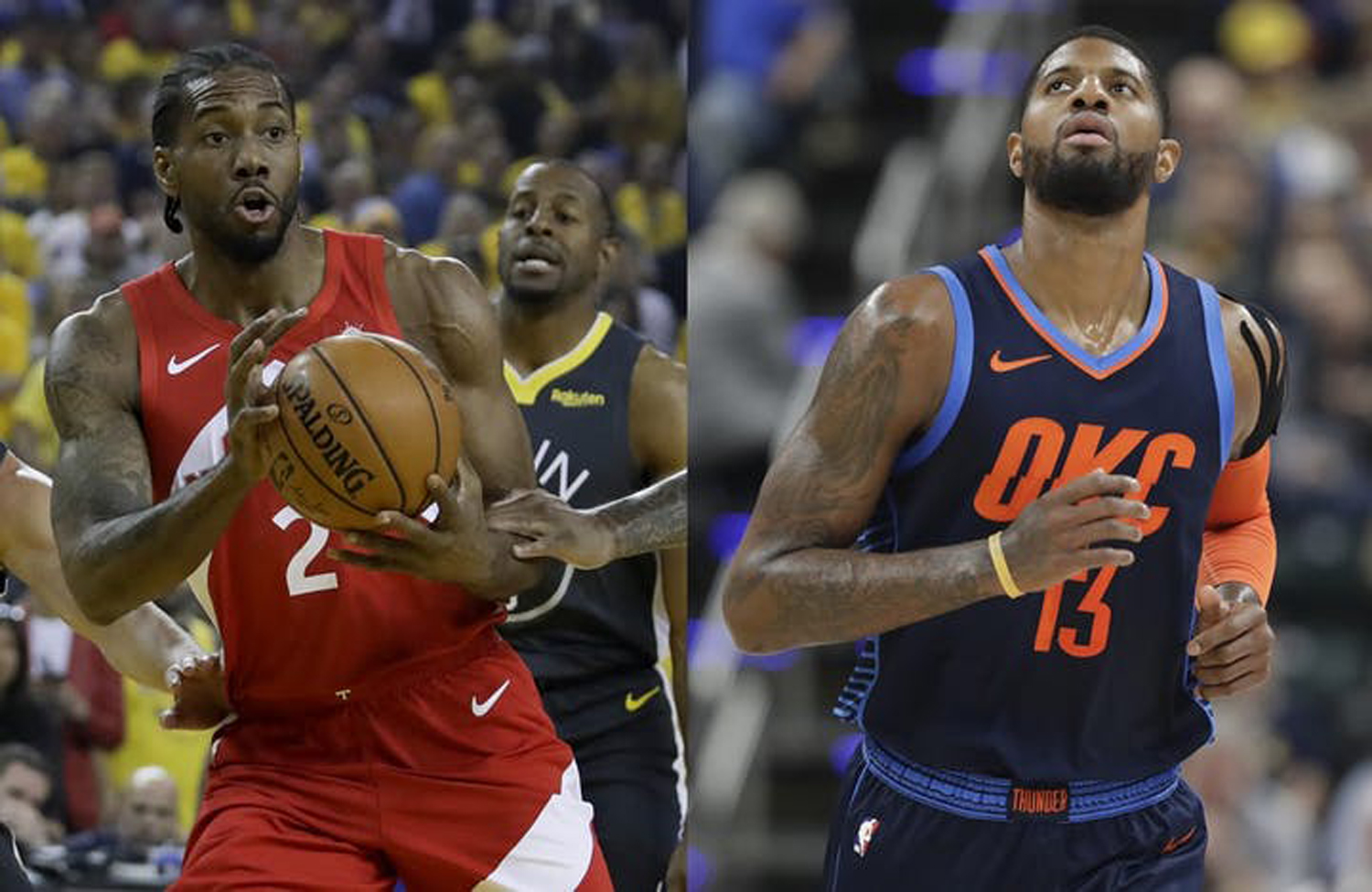 Kawhi Leonard, left, and Paul George are joining forces next season with the Los Angeles Clippers.
