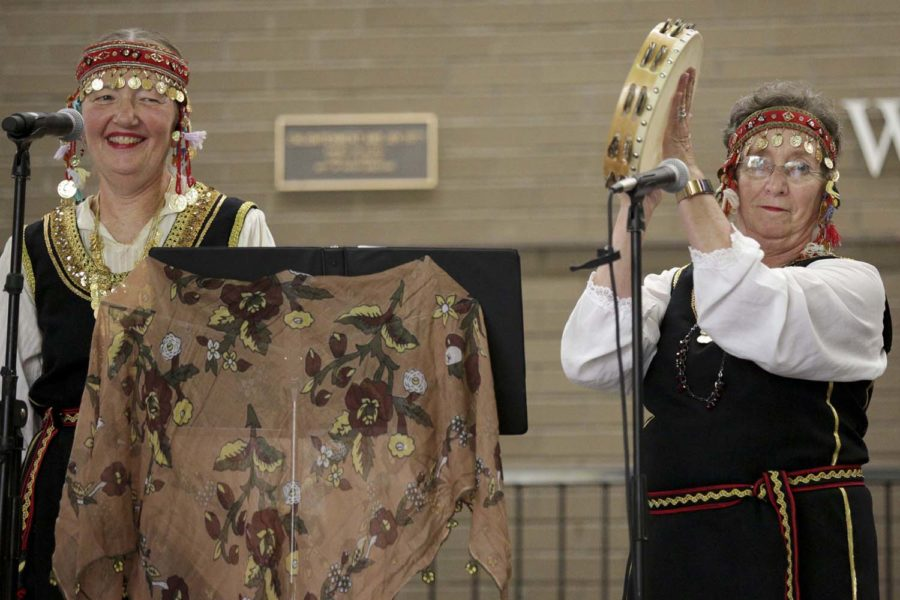 The Balkan Babes ensemble performs Balkan music at Sunday afternoon's Eurofest in Posvar Hall.