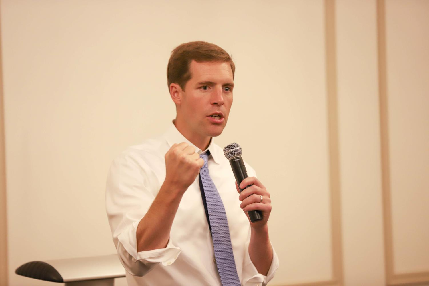 Congressman Conor Lamb spoke at the first meeting of Pitt Democrats on Tuesday night.