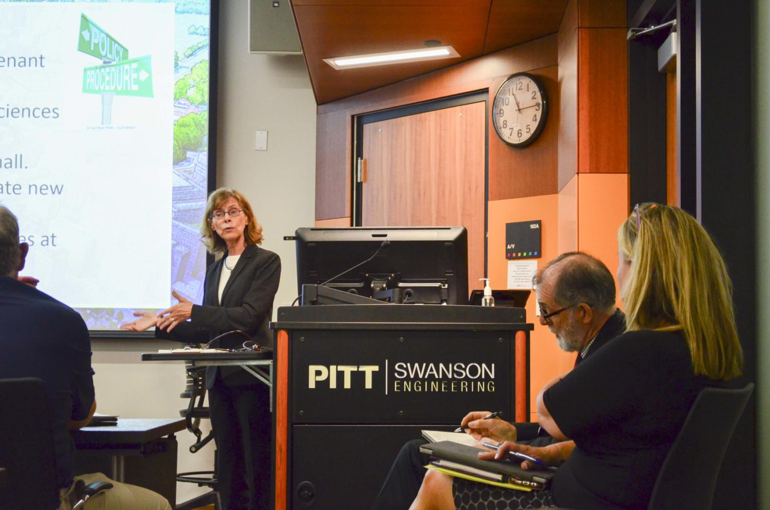 Mary Beth McGrew, the assistant vice chancellor for campus planning, spoke on creating a sense of community in One Bigelow.