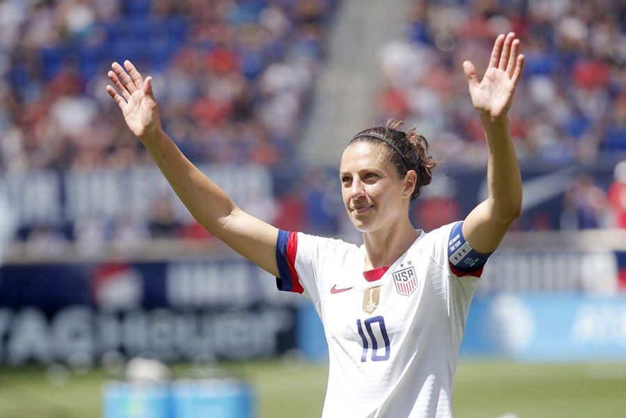 U.S. Women's Soccer captain and Delran, New Jersey, native Carli Lloyd waves to the fans at the end of a game.
