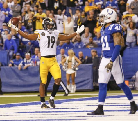 Pittsburgh Steelers wide receiver JuJu Smith-Schuster (19) reacts after a second-half touchdown against the Indianapolis Colts Sunday, Nov. 12, 2017, at Lucas Oil Stadium in Indianapolis. The Steelers won, 20-17.