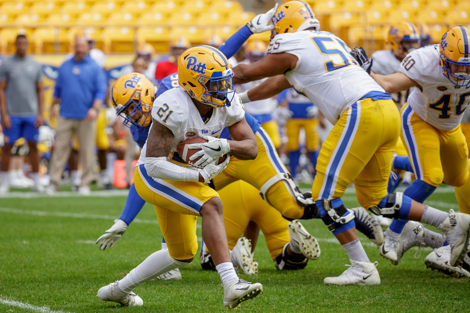 Pitt's backfield will likely be led by junior halfback AJ Davis (21).
