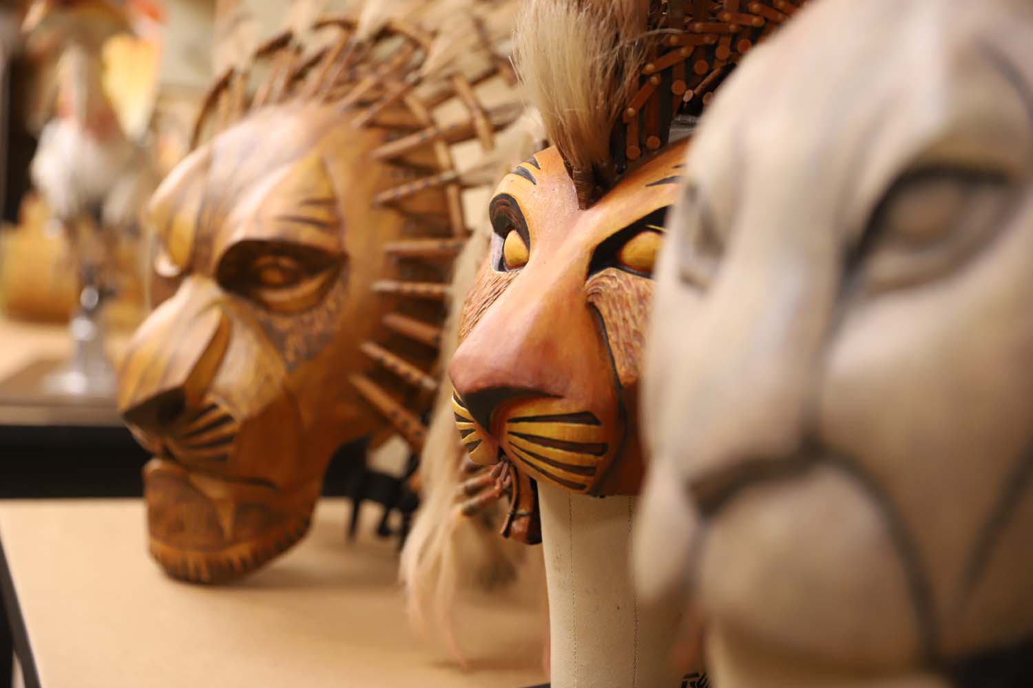 "Headdresses for use in the Benedum Center's production of Disney's ""The Lion King."""