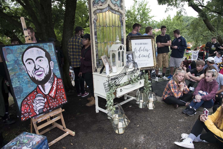A memorial for Pittsburgh musician Mac Miller at Blue Slide Park in September 2018.