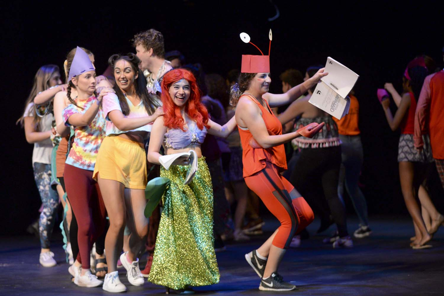 "Pitt's Musical Theater Club performs ""Under the Sea"" as a part of its 24 hour production of Disney's ""The Little Mermaid"" Saturday evening at Stephen Foster Memorial Theater."