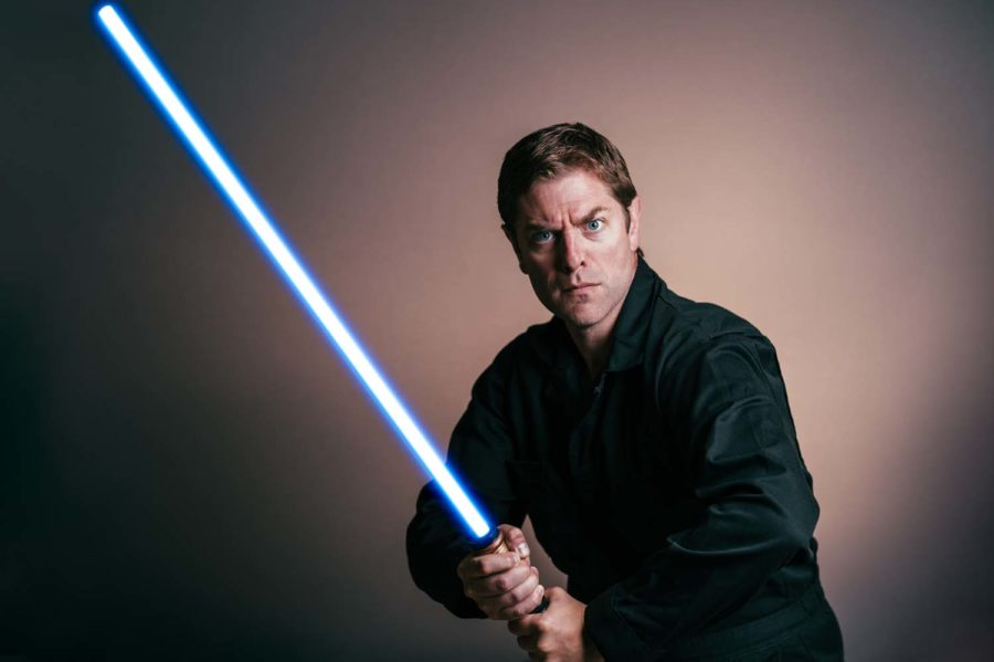 "Charles Ross is the leading man in the ""One-Man Star Wars Trilogy."""