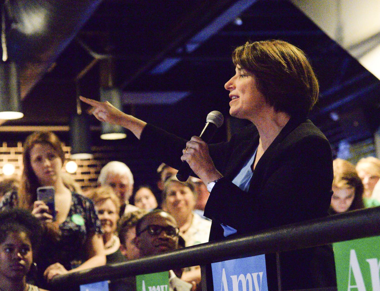 Presidential hopeful Sen. Amy Klobuchar, D-Minn., spoke to a full crowd in Stack'd on Wednesday night at an event hosted by Pitt College Democrats.