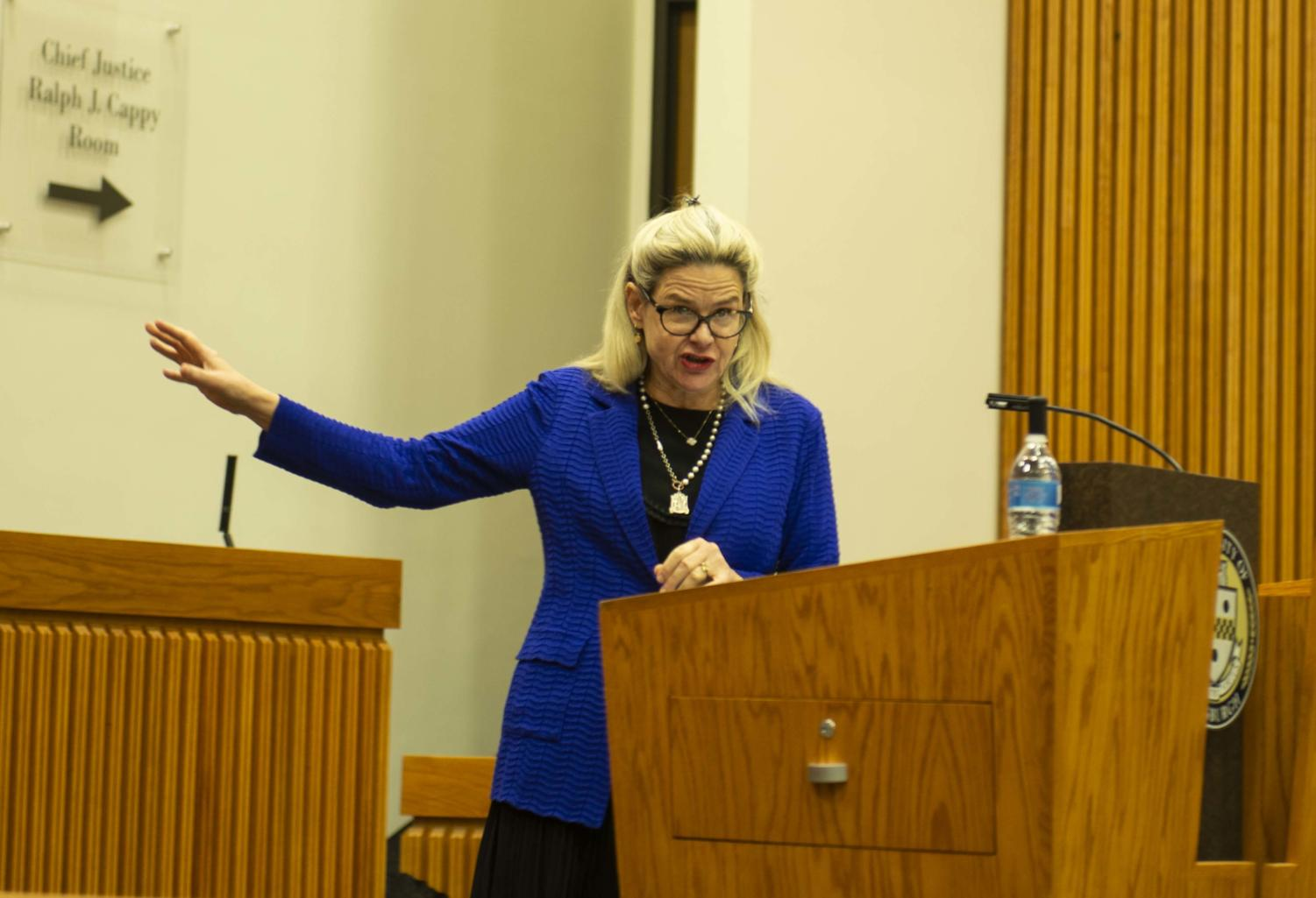 Victoria Nourse, Ralph Whitworth Professor in Law at Georgetown spoke Tuesday about separation of powers and the current state of politics.
