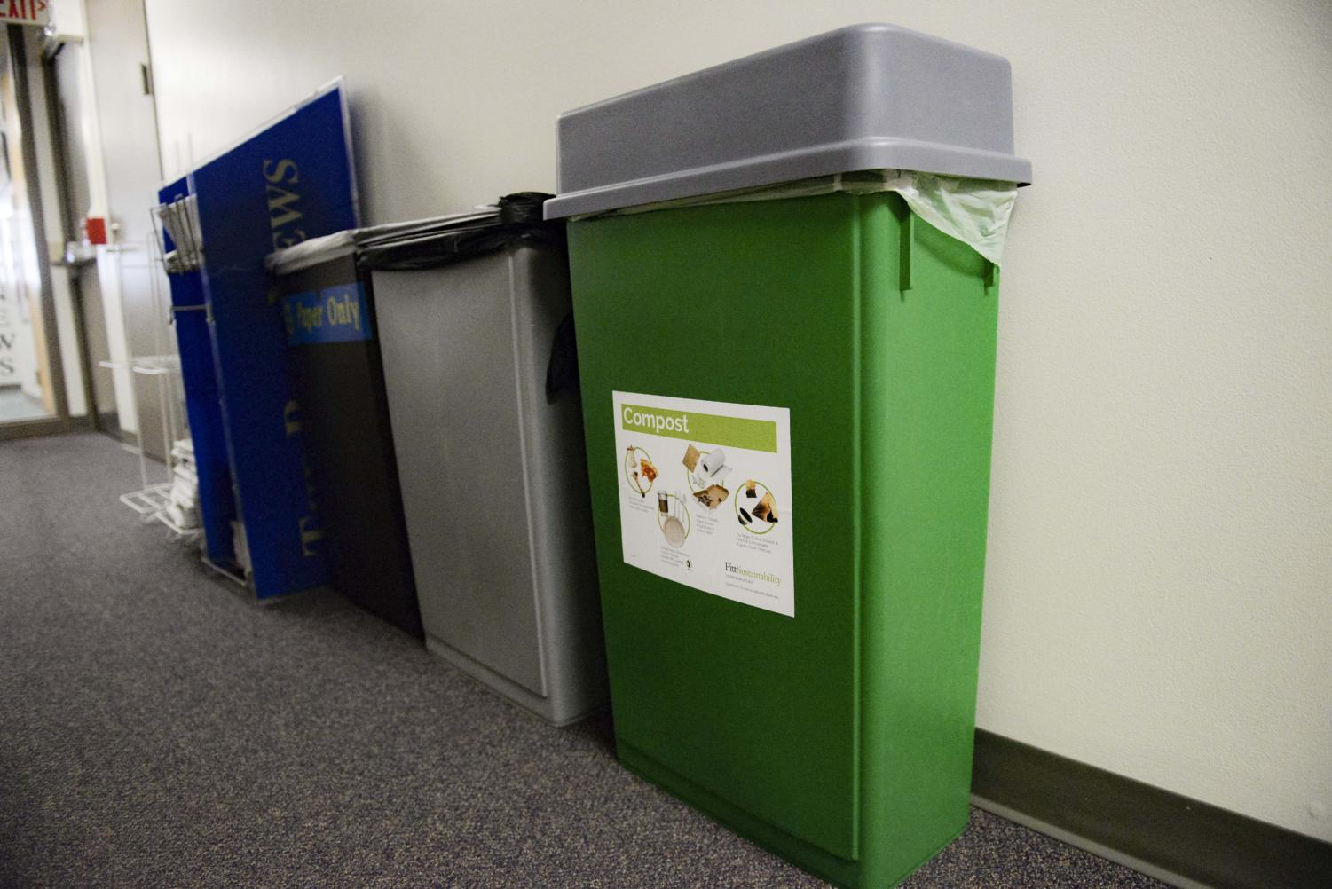 Compost bins are now located next to trash and recycling bins in the William Pitt Union.