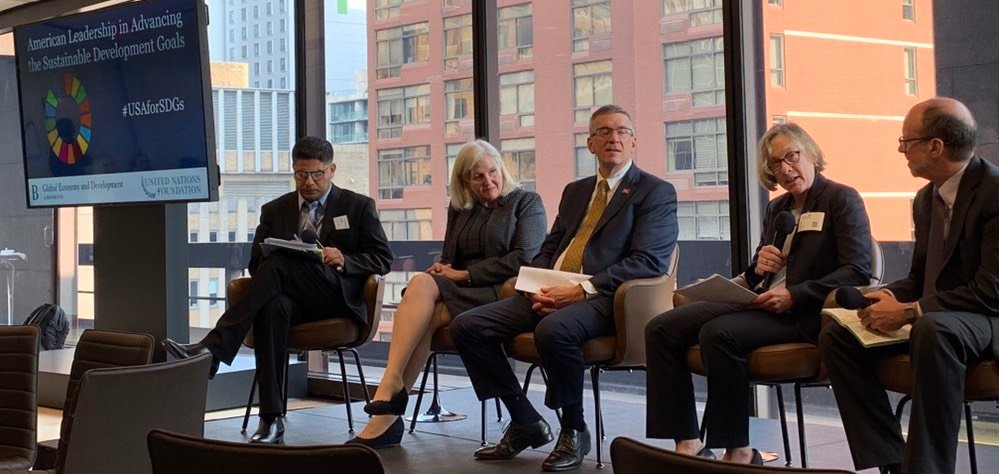 Provost Ann Cudd at a forum at the 74th General Assembly of the United Nations in New York.