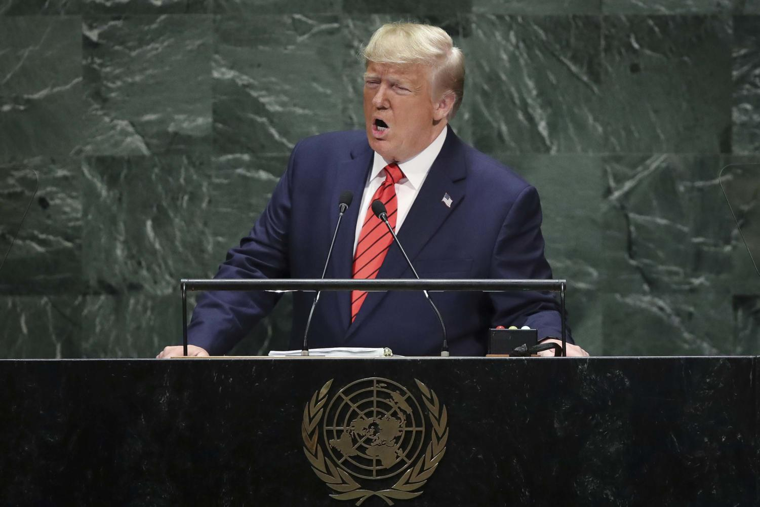 President Donald Trump addresses the United Nations General Assembly at U.N. headquarters on Tuesday in New York City. World leaders from across the globe are gathered at the 74th session of the U.N. General Assembly, amid crises ranging from climate change to possible conflict between Iran and the United States.