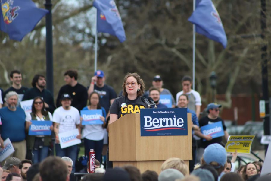 Union organizer Kim Garrett addresses the crowd at Bernie Sanders' rally in Schenley Plaza in April.