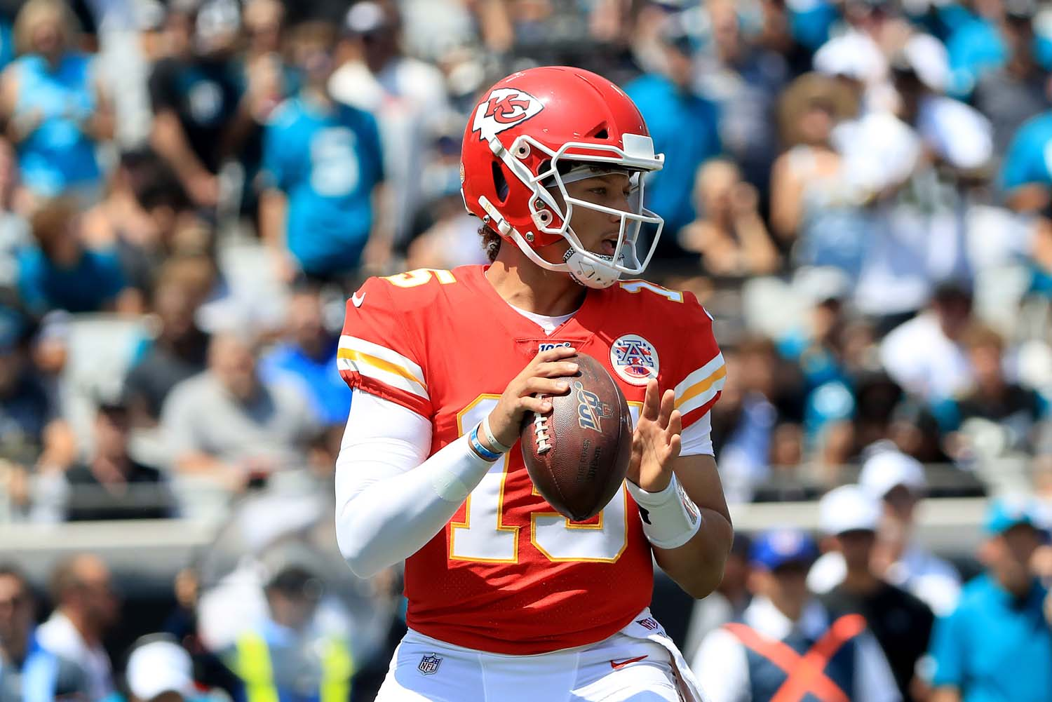 Patrick Mahomes (15) of the Kansas City Chiefs attempts a pass during the game against the Jacksonville Jaguars at TIAA Bank Field on Sept. 8  in Jacksonville, Florida.