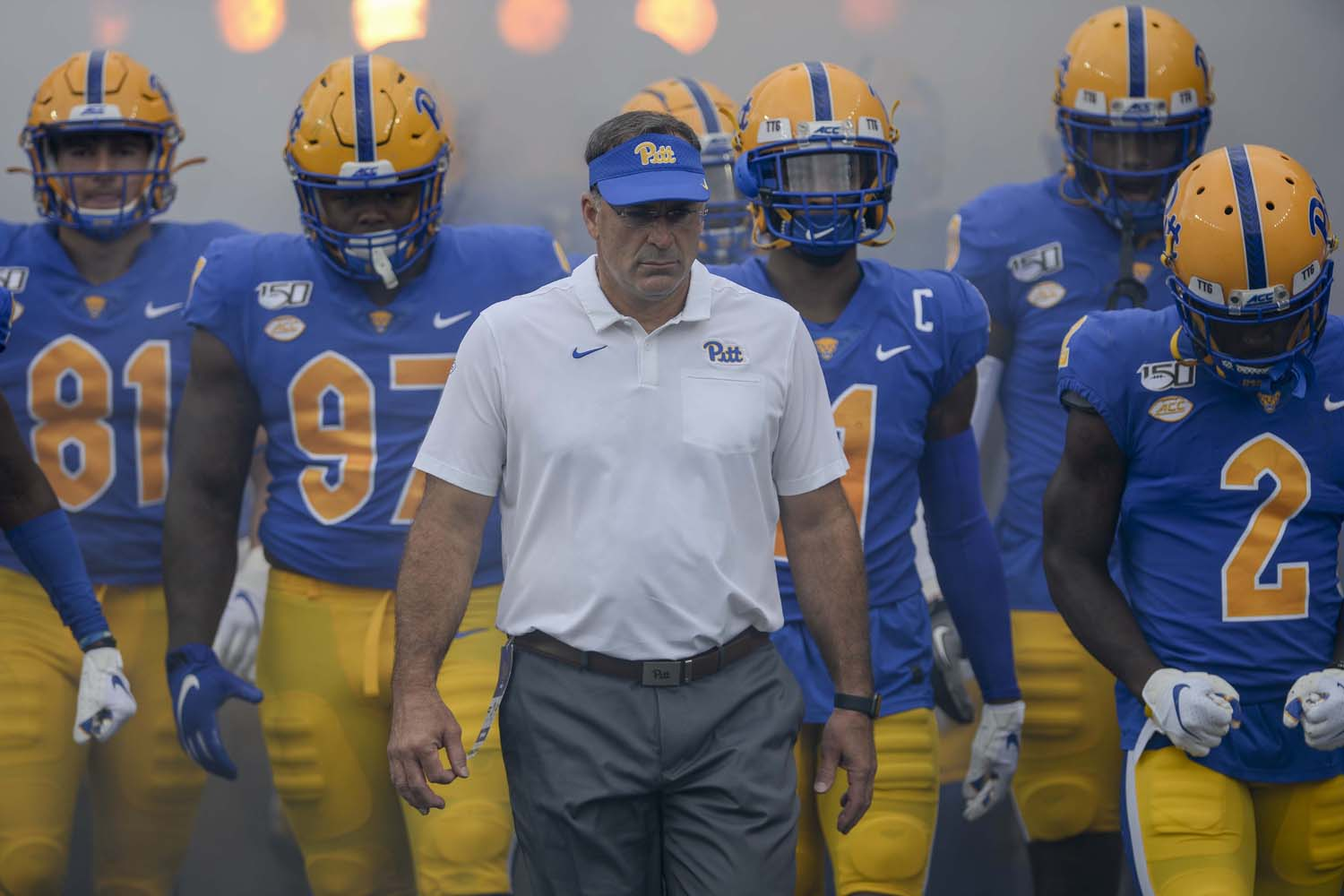 Head coach Narduzzi enters Heinz Field before Saturday's matchup with Ohio University.