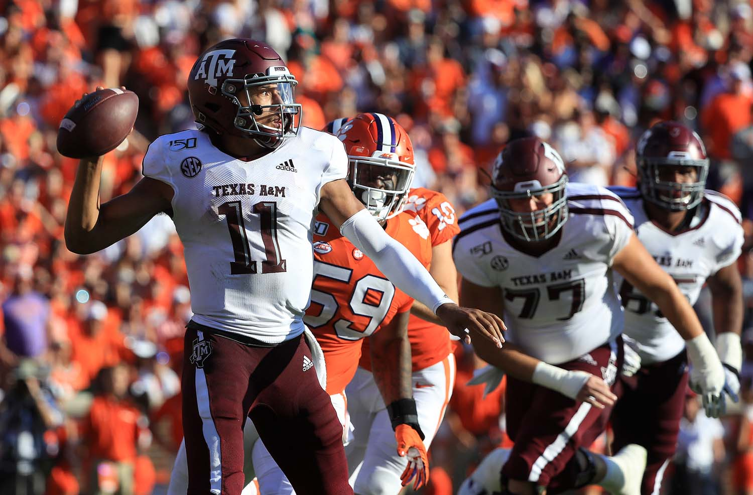 Texas A&M quarterback Kellen Mond (11) drops back to pass against Clemson at Memorial Stadium in Clemson, South Carolina, on Saturday, Sept. 7. Clemson won, 24-10.