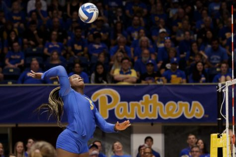 Chinaza Ndee returns the ball. Pitt Volleyball swept Virginia Tech on Sunday evening, with Ndee contributing 8 kills.