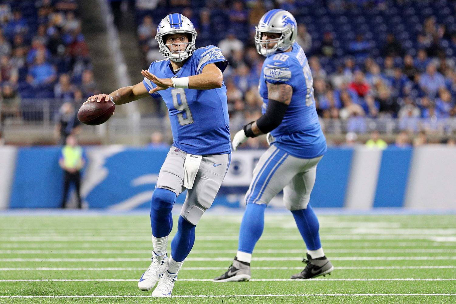 Detroit Lions quarterback Matthew Stafford (9) throws a pass during their NFL preseason game against the Buffalo Bills at Ford Field in Detroit, on Friday, Aug. 23.