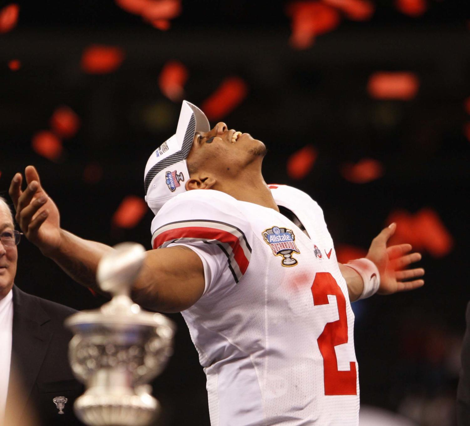 Ohio State quarterback Terrelle Pryor (2) watches the confetti swirl around him Sugar Bowl at the Louisiana Superdome in New Orleans, Louisiana, on Tuesday, January 4, 2011.