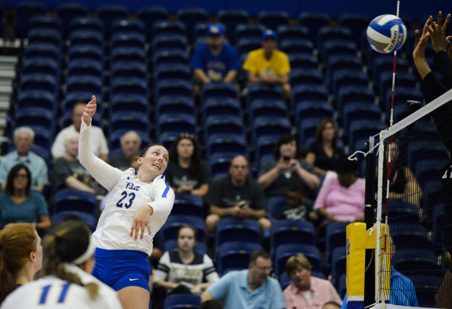 Junior Kayla Lund led Pitts win against Ohio State with with 13 kills.
