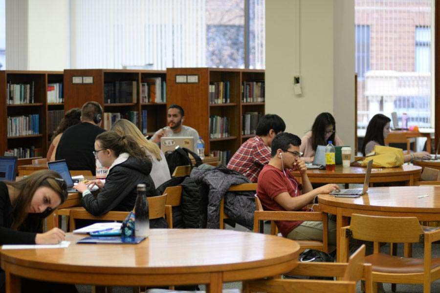 Students study in Hillman Library.