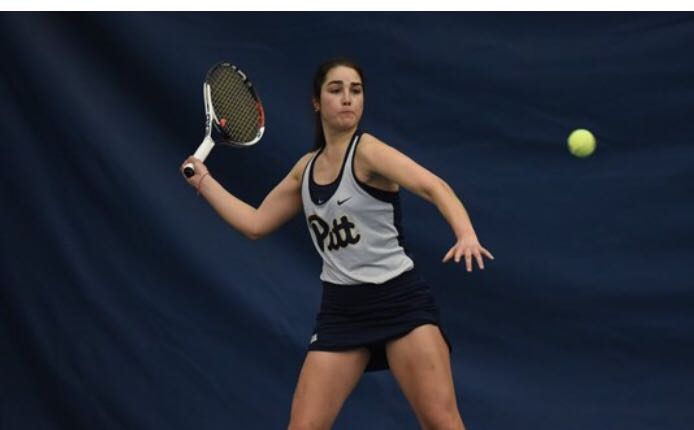 Claudia Bartolome, pictured here in a February match against Georgia Tech, was one of three underclassmen who transferred from Pitt after the termination of the tennis program.