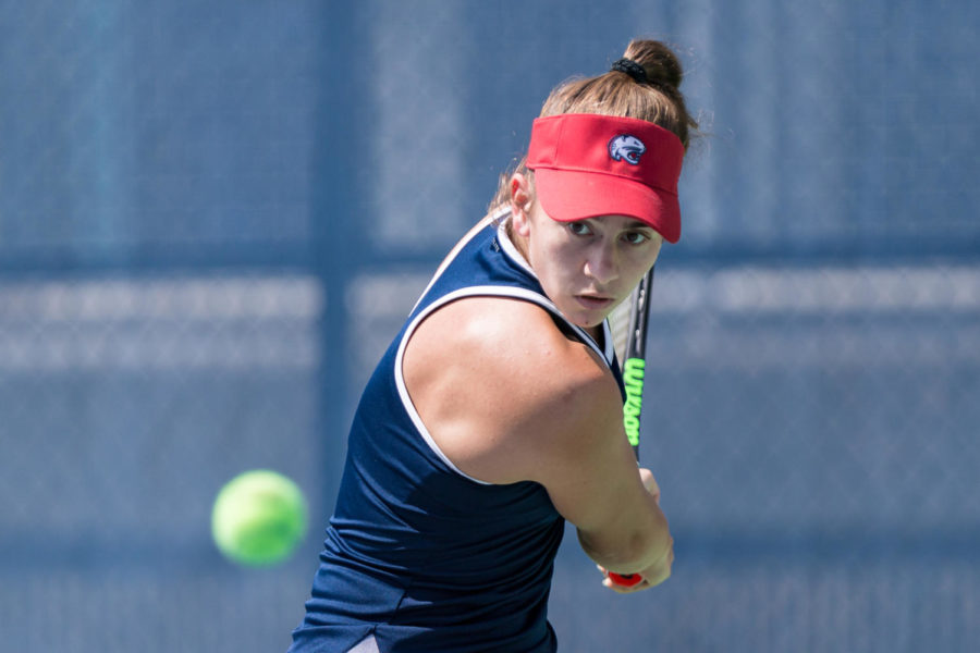Junior Cami Moreno transferred from Pitt after the tennis program was discontinued and now plays at the University of South Alabama.