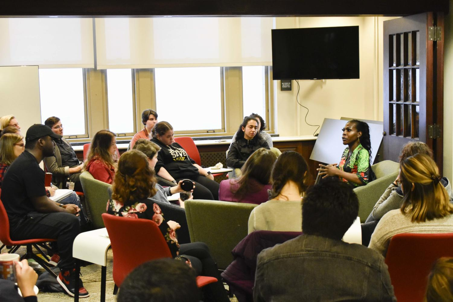 The Honors College hosted Vanessa Carter of SisTers PGH at one of its biweekly Community Cafes on Thursday. SisTers PGH focuses on helping trans women in the county jail by providing bail, resources and jobs for trans people.