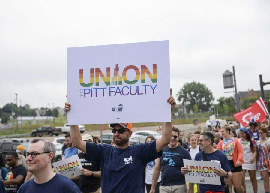 University+of+Pittsburgh+faculty+unionizers+at+the+People%E2%80%99s+Pride+parade+in+June+2018.+