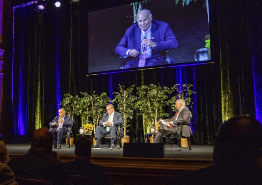 Former+Pennsylvania+Governors+Ed+Rendell+and+Tom+Ridge+answer+questions+moderated+by+Dave+Davies+%28pictured+left+to+right%29+at+the+Carnegie+Music+Hall+on+Tuesday+night+as+a+part+of+the+2019+American+Experience+Distinguished+Lecture+Series+hosted+by+the+University+of+Pittsburgh.+