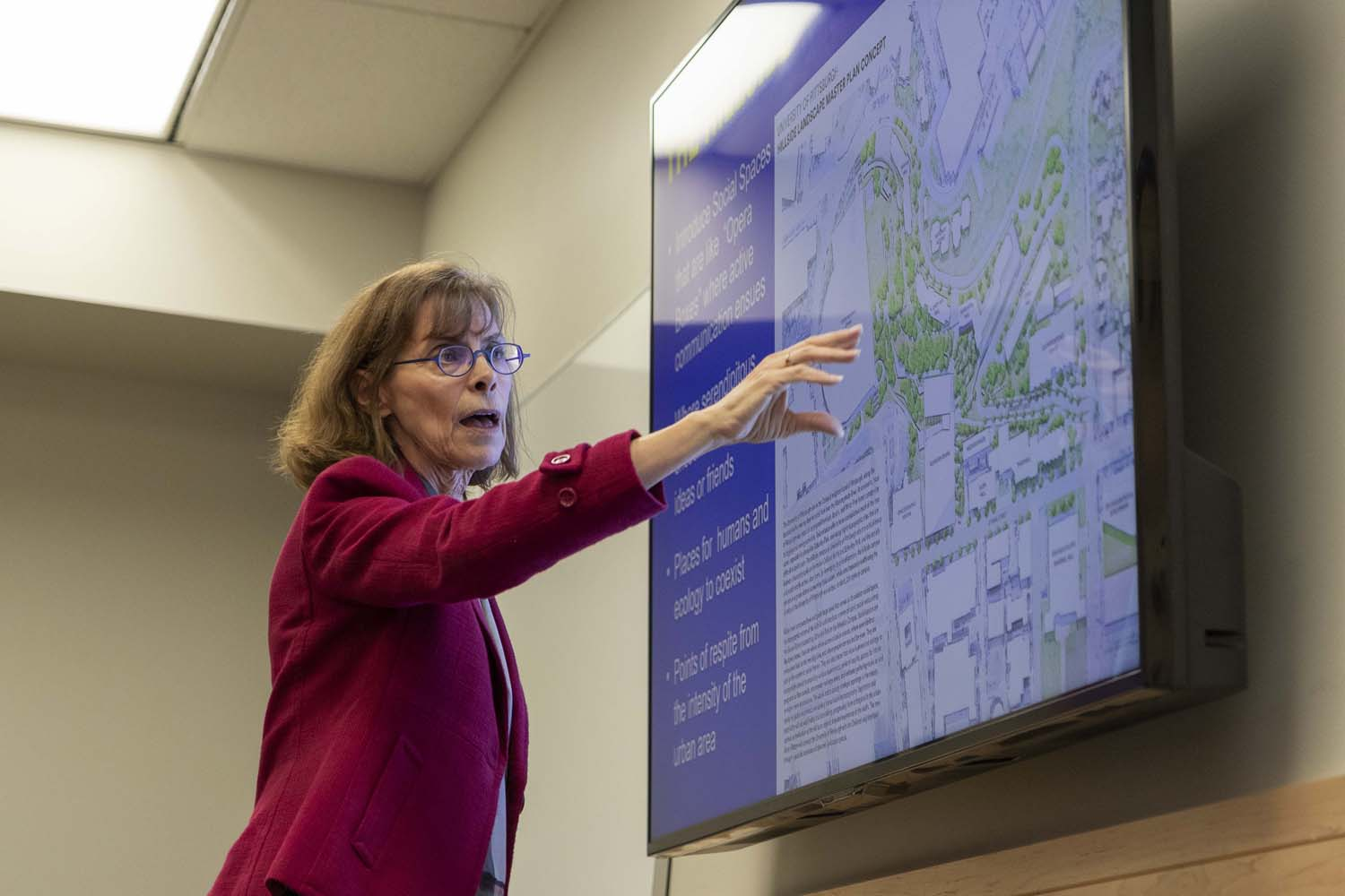 Mary Beth McGrew, Pitt's assistant vice chancellor for planning, discusses potential changes to upper campus at Monday afternoon's Senate Plant Utilization and Planning Committee meeting.