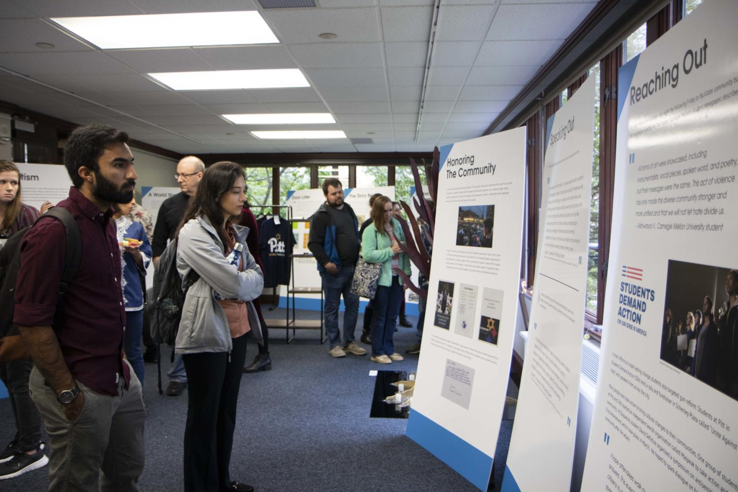"""""""To Those Who Grasp It: Responding to October 27"""" is a traveling exhibit that will be located in the Kimbo Gallery in the William Pitt Union until Oct. 16, then it will be moved to the Department of History in Posvar Hall until Dec. 6."""