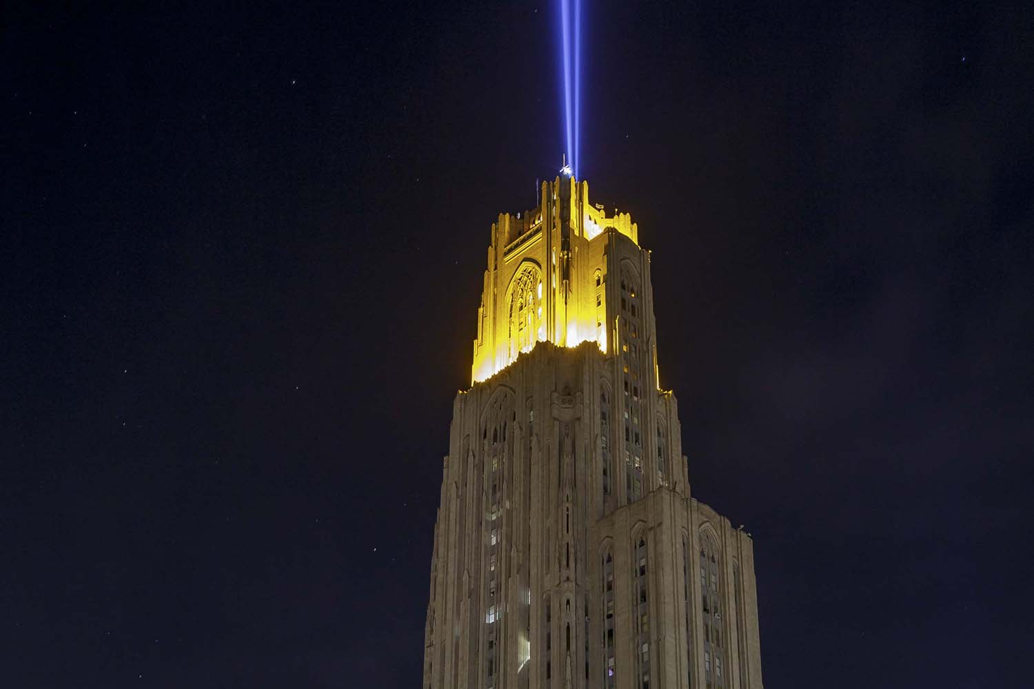 The blue beam was added to the Cathedral of Learning's Victory Lights in 2018.
