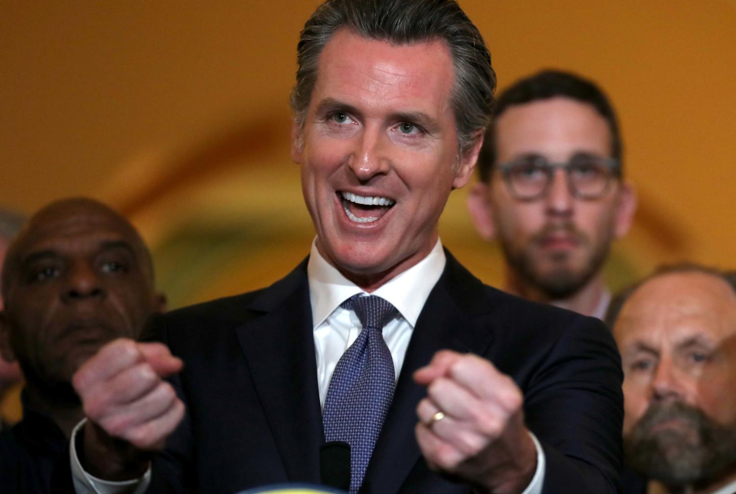 California Gov. Gavin Newsom speaks during a news conference at the California State Capitol on March 13 in Sacramento, California.