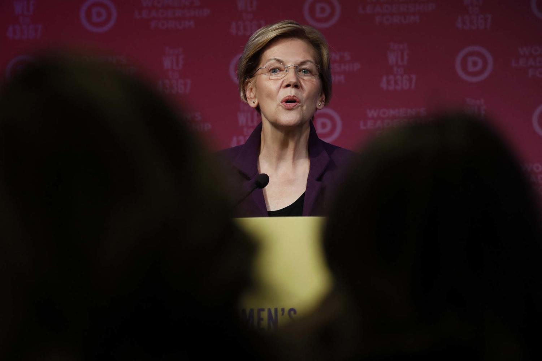 Democratic presidential candidate Sen. Elizabeth Warren, D-Mass., speaks at the Women's Leadership Forum conference in Washington, D.C., on Oct. 17.