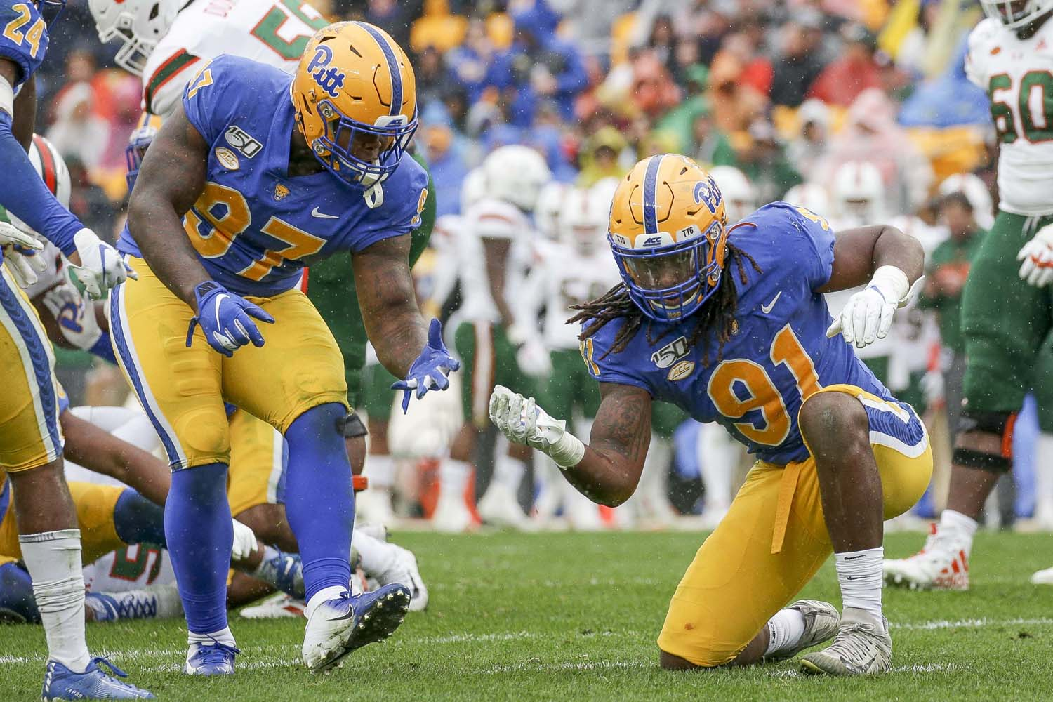 Pitt's defense held Miami to only 80 yards rushing on the ground during Saturday's 16-12 loss to the Hurricanes.