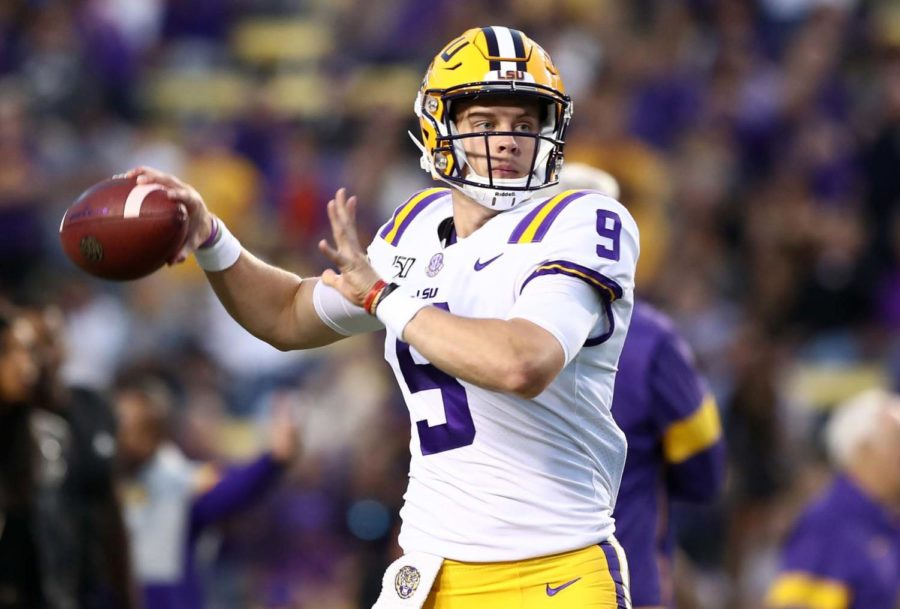 LSU quarterback Joe Burrow (9) throws against Florida at Tiger Stadium in Baton Rouge, Louisiana, on Saturday, Oct. 12. Host LSU won, 42-28.