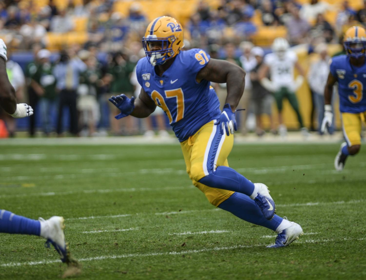 Jaylen Twyman rushes to tackle. Twyman contributed seven sacks to Pitt's total of 36, which is the highest in the nation this season.