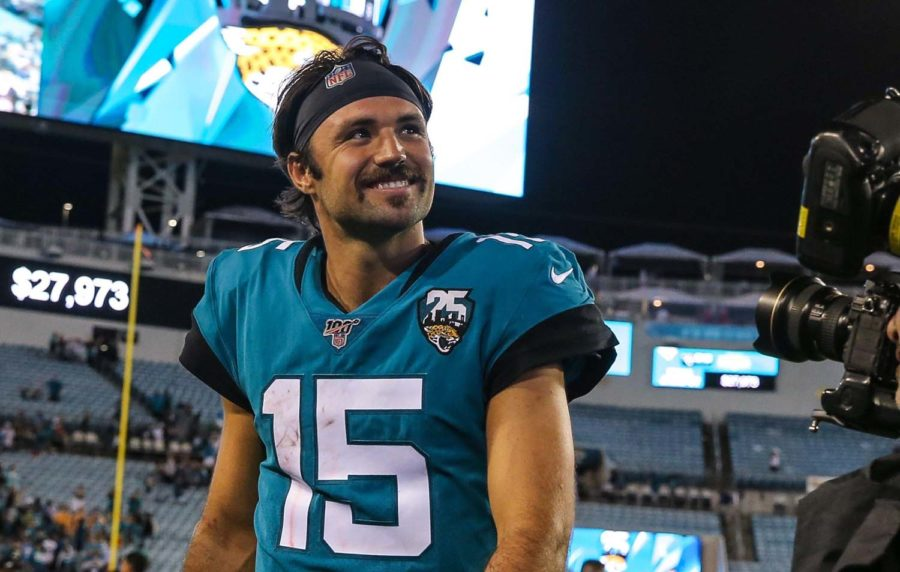 Jacksonville Jaguars quarterback Gardner Minshew (15) walks off the field after defeating the Tennessee Titans in an NFL football game at TIAA Bank Field, Thursday, Sept. 19 in Jacksonville, Florida. Jaguars won 20-7.