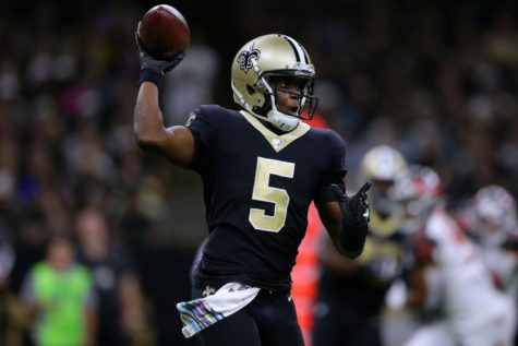 Teddy Bridgewater (5) of the New Orleans Saints throws the ball during the second half of a game against the Tampa Bay Buccaneers at the Mercedes Benz Superdome on Oct. 6 in New Orleans.