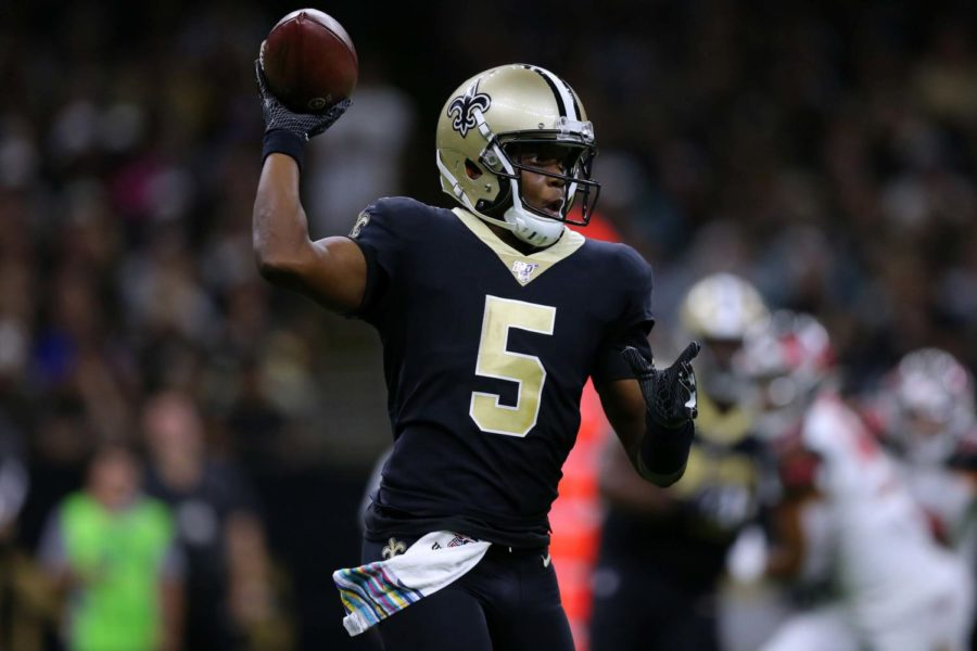 Teddy+Bridgewater+%285%29+of+the+New+Orleans+Saints+throws+the+ball+during+the+second+half+of+a+game+against+the+Tampa+Bay+Buccaneers+at+the+Mercedes+Benz+Superdome+on+Oct.+6+in+New+Orleans.+