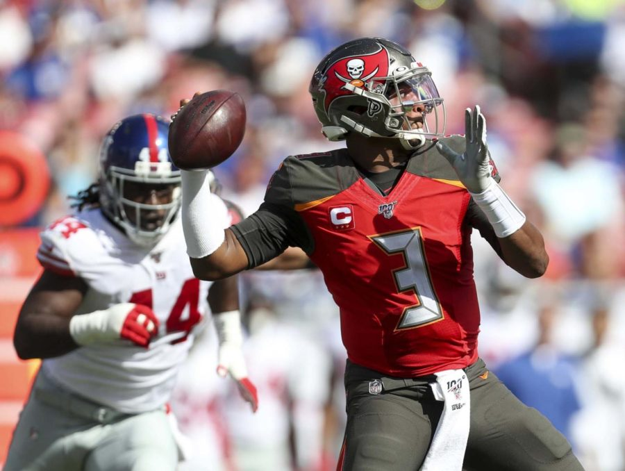 Tampa Bay Buccaneers quarterback Jameis Winston (3) attempts a pass during the first quarter against the New York Giants on Sept. 22 in Tampa, Florida.
