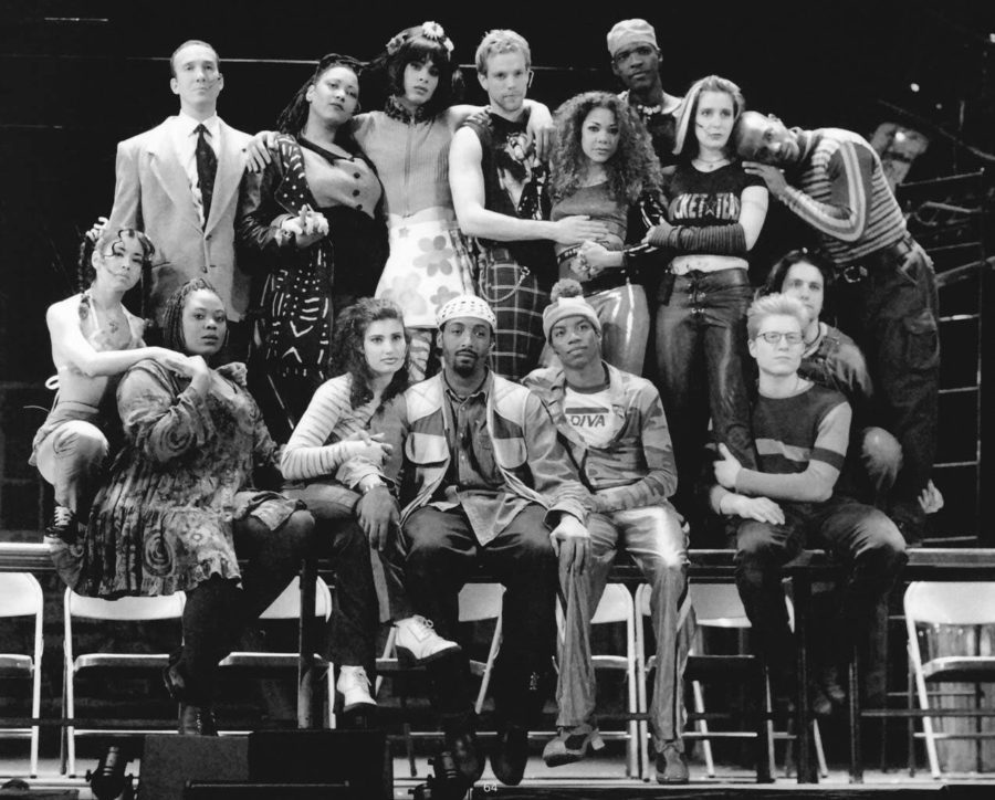 The original Broadway cast of Rent from 1996 poses for a group photo.