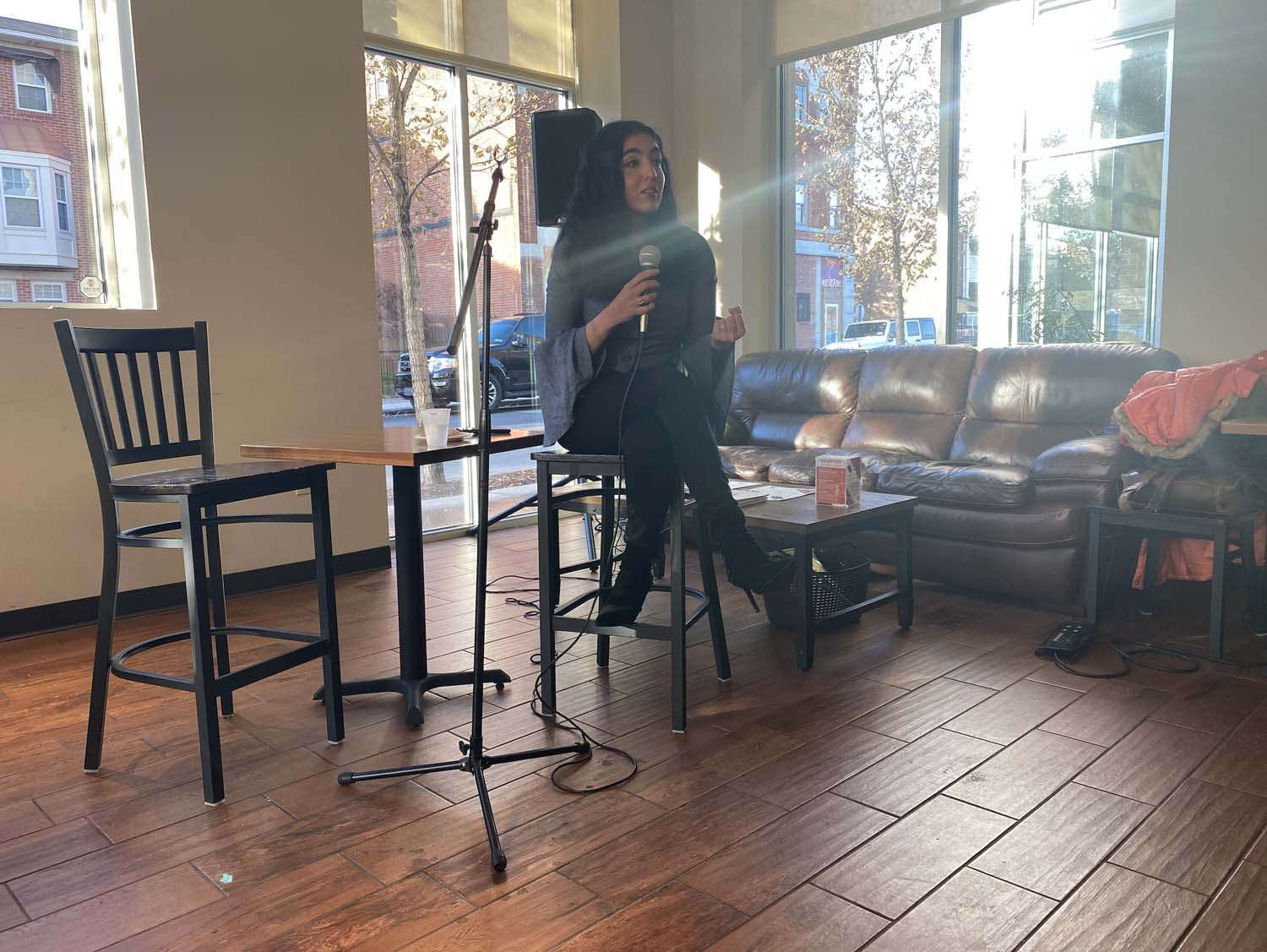 Gisele Fetterman, the second lady of Pennsylvania, speaks about clothing insecurity at Homewood's Everyday Cafe on Thursday evening.