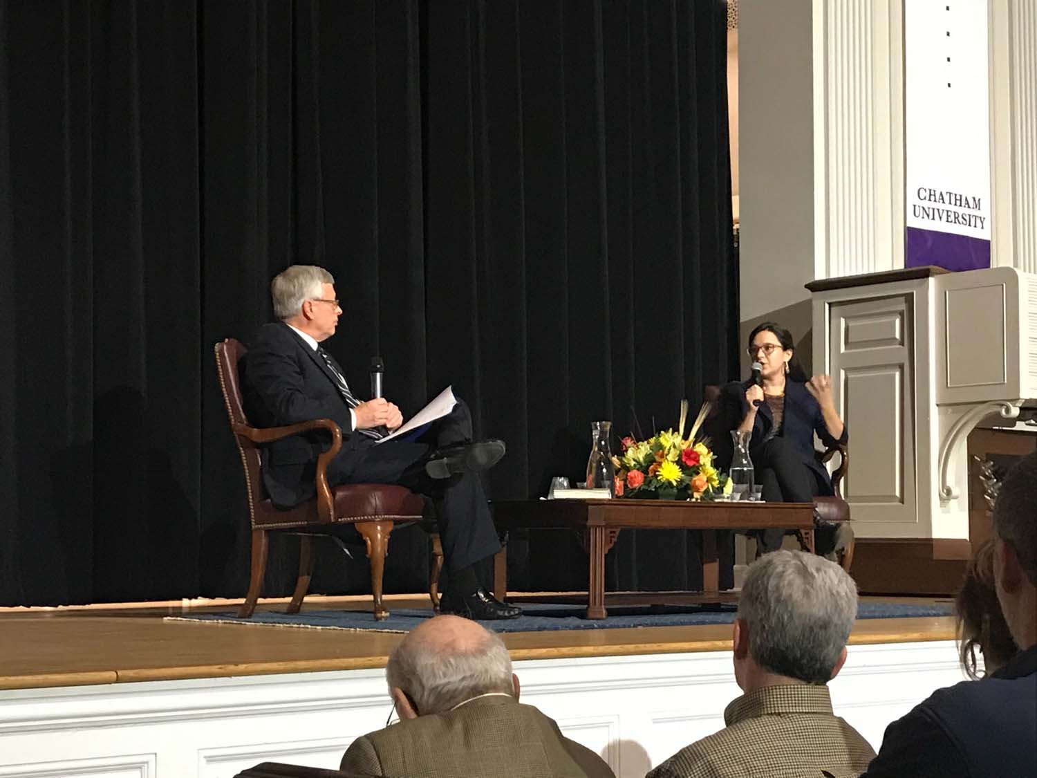 """Bari Weiss, opinion staff editor and writer for the New York Times, speaks about her book """"How to Fight Anti-Semitism"""" at Chatham's Campbell Memorial Chapel."""