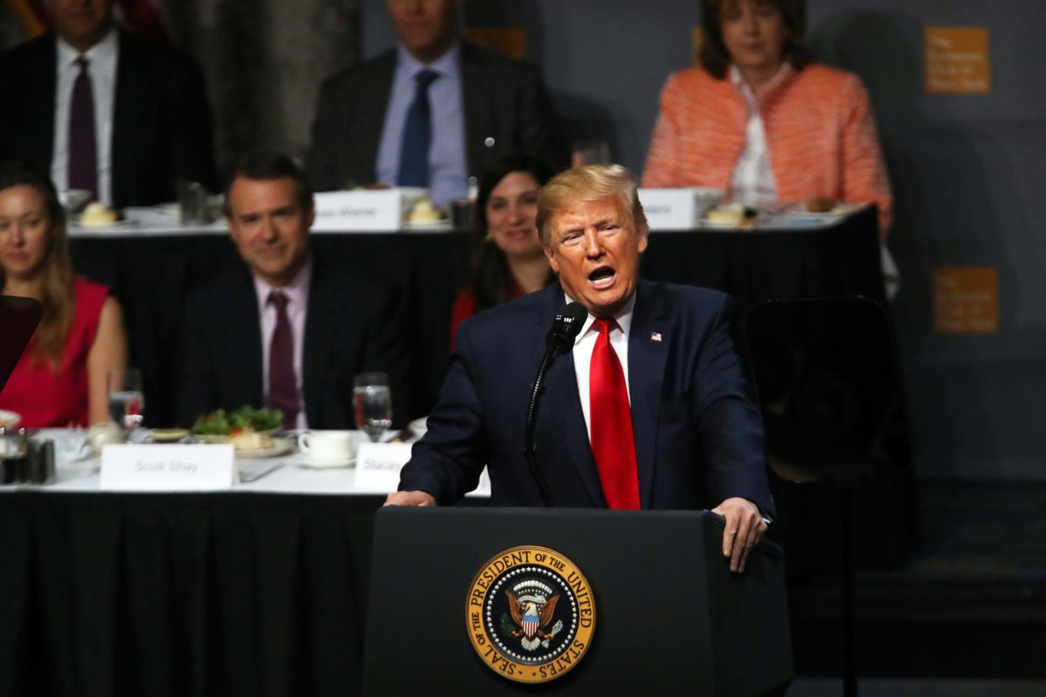 President Donald Trump speaks at the Economic Club of New York on Nov. 12 in New York City. Trump, speaking to business leaders and others in the financial community, spoke about the state of the U.S. economy and the prolonged trade talks with China.