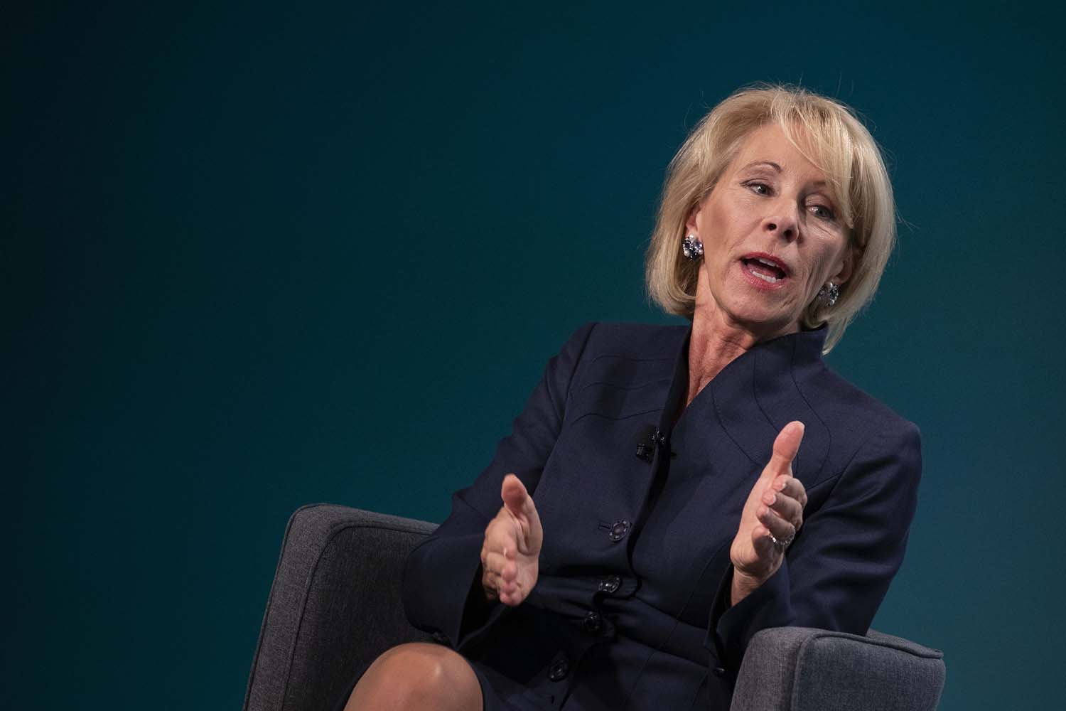 Betsy DeVos, secretary of education, speaks during the Wall Street Journal CFO Network conference in Washington, D.C., on Tuesday, June 11.