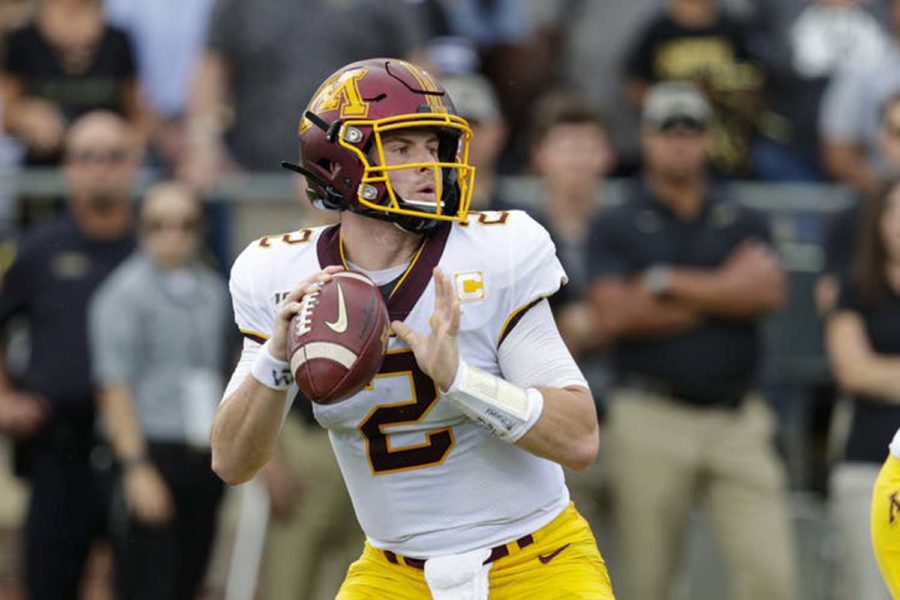 Minnesota+quarterback+Tanner+Morgan+%282%29+throws+against+Purdue.